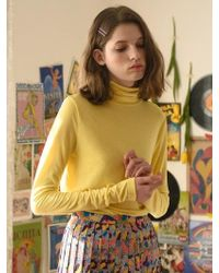 ANOTHER A - Vivid Sheer Turtleneck Top Pink Yellow Blue - Lyst