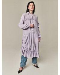Bouton - Long Frilled Dress Lavender - Lyst