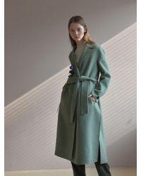 PLOT - Maxi Slit Handmade Long Coat_cadet Grey - Lyst
