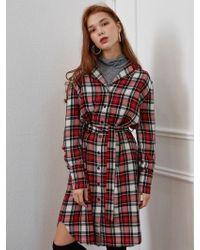 W Concept - Wool Check Shirt Dress - Lyst