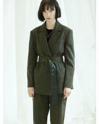 Clue de Clare - Oversized Belted Jacket-khaki - Lyst