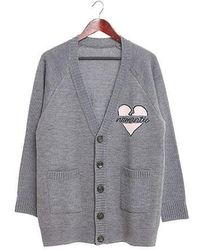 Beyond Closet - Nomantic Heart Logo Cardigan Grey - Lyst