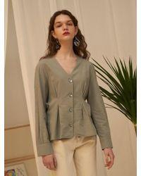 1159 STUDIOS - Mh5 Waist Pin Tuck Shirt Olive - Lyst