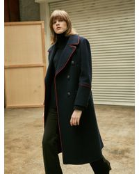 COLLABOTORY - Red Piping Long Pea Coat Navy - Lyst