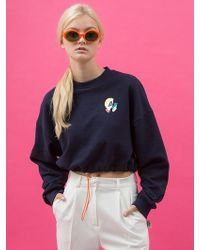 ANOTHER A - Boxy String Crop Sweatshirt Navy - Lyst