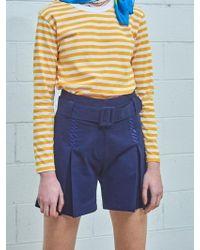 W Concept - Cursive Mimicawe Tuck Belt Shorts - Royal Blue - Lyst