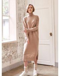 YAN13 - Long Turtle Neck Dress Beige - Lyst