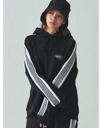 W Concept - [unisex]_checker Line Hoodie Black - Lyst
