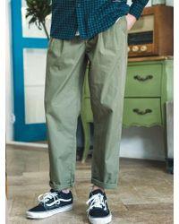 F.ILLUMINATE - [unisex] Two Tuck Cotton Pants Khaki - Lyst