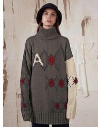 ADER error - Oversize Argyle Knitwear Grey - Lyst