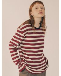 W Concept - [unisex] Neck Point Stripe Long Sleeve Cut Sewn Wine - Lyst