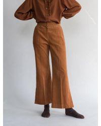 AEER - Corduroy Wide Trousers Orange Brown - Lyst