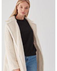 PLOT - Teddybear Wool Coat Ivory - Lyst