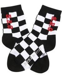 W Concept - Checker Board Socks Black - Lyst