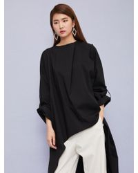 Aheit - Cowl Collar Oversized Top Black - Lyst