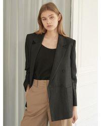 NILBY P - Linen Double Jacket Bk - Lyst