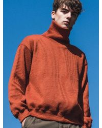 F.ILLUMINATE - [unisex] Line Knit Poloneck-orange - Lyst