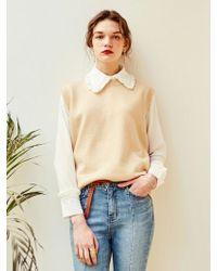 YAN13 - Soft Wool U Neck Knit Vest Beige - Lyst