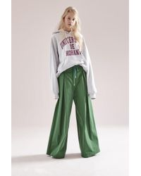 NOHANT - Maxi Cotton Wide Trousers Green - Lyst