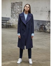 COLLABOTORY - Wide Lapel Navy Trench - Lyst