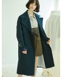 Clue de Clare - Placket Sleeve Trench Coat-navy - Lyst