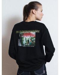 W Concept - [unisex] R Logo Picture Printing Sweatshirt Black - Lyst