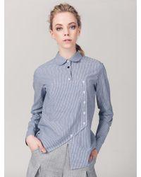 ABRAHAM K HANGUL - Unbalance Button Stripe Shirt - Lyst