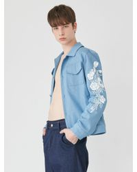 BONNIE&BLANCHE - Floral Print Denim Jacket Sky Blue - Lyst