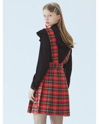 MIGNONNEUF - Crush Suspender Skirt Check Red - Lyst