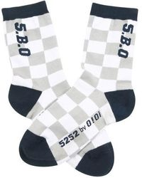 W Concept - Checker Board Socks Navy - Lyst