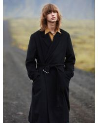W Concept - Oversized Belted Long Coat _ Black - Lyst