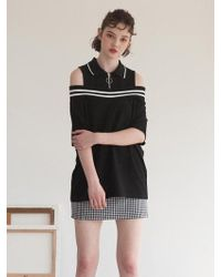 TARGETTO - Off Shoulder Pique T-shirt Black - Lyst