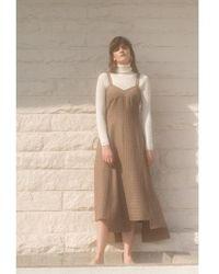 AEER - Bustier Check Wool Dress Brown - Lyst