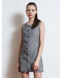 W Concept - Button Fly Sleeveless Check Dress Grey - Lyst