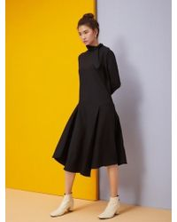 Aheit - Flared Black Dress Black With Belt - Lyst