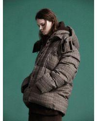 NOHANT | [unisex]glen Check Short Puffer Jacket Brown | Lyst