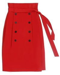 Charm's Classic Button Skirt Red