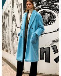 W Concept - Teddy Bear Wool Double Coat Awa174w Skyblue - Lyst