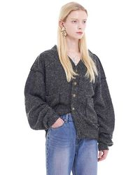 W Concept - [woman] Oversized Mohair Cardigan D Grey - Lyst