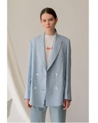 AEER - Jacket Window Check Double Linen Bl - Lyst