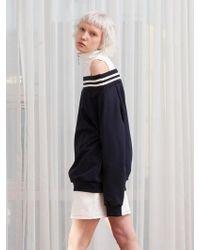 TARGETTO - Off Shoulder High Neck Sweatshirt Navy - Lyst
