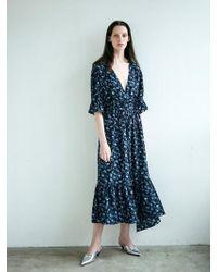 LETQSTUDIO - Floral Print Ruffle Hem Dress Bk - Lyst