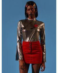 NANA CREW - Nana Glitter Long Sleeve T-shirt Silver - Lyst