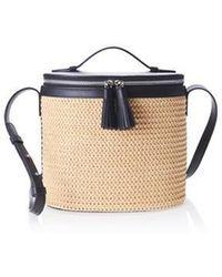 W Concept - Ellipse Raffia Bag Black - Lyst