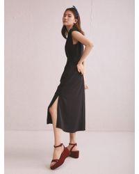 Aheit - One Side Open Back Flared Dress Black - Lyst