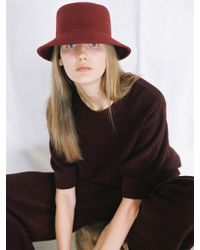 Awesome Needs - Lambs Wool Square Bucket Hat_burgundy - Lyst