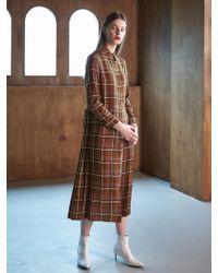 COLLABOTORY - Bacma4013m Pleats Maxy Print Shirts Dress Check - Lyst