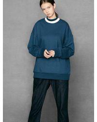 VOIEBIT - [unisex] V311 Double Neck Sweatshirt Blue - Lyst