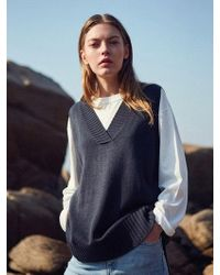 YAN13 - Unbalance Knit Vest_navy - Lyst