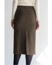 AEER - Check Slit Wool Skirt Khaki - Lyst